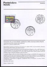 ITALIA 2009 GIORNATA FILATELIA BOLLETTINO COMPLETO DI FRANCOBOLLI ANNULLO FDC
