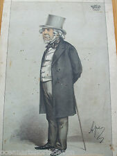 """ANTIQUE PRINT 1870 VANITY FAIR """"STATESMENT NO 62"""" NO 96 BY APE ON BOARD VINTAGE"""