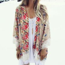 Women Vintage Floral Blouse Long Sleeve Chiffon Kimono Cardigan Tops Loose Shirt