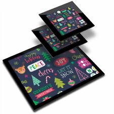 Glass Placemat  & 2x Coaster  - Modern Festive Christmas Pattern  #16741