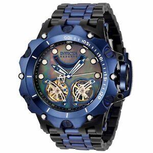 Invicta Reserve HYBRID Venom Double Open Heart Automatic BLUE & BLACK SS  Watch