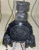 Large Vintage Ashtray Grey Onyx Marble Natural Stone Aztec God Mexico Carved