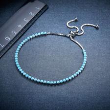 Adjustable Tennic Bracelet For Women 925 Sterling Silver Turquoise Fine Jewelry