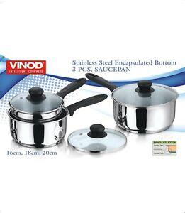 Vinod Stainless Steel 3 Piece Induction Heavy Cookware Saucepan Pot Pan Set
