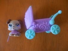 Littlest Pet Shop Portable Pet BOXER PUPPY #143 w/Carriage Rare Retired