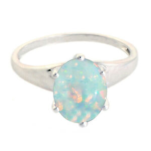 1.20Ct Round Cut Natural Australian Opal Solitaire Ring In 14KT White Gold
