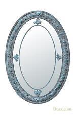Dusx Vintage Grey Metal Frame Margin Oval Decorative Mirror Large 70x100cm