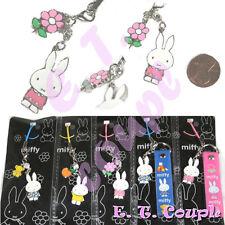 1PC Miffy rabbit bunny Pink flower adorable cute cellphone strap Disney keychain