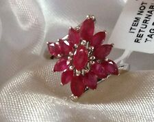 2.25 Ct, Cluster Design, Ruby Ring, Platinum On Sterling Silver, Size Q