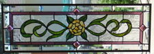 Stained Glass Transom window hanging  33 3/4 X 11 1/4 Polished Brass edging