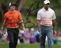 TIGER WOODS AND RORY MCILROY SIGNED AUTOGRAPH 8x10 RP PHOTO LEGEDARY GOLF GREATS