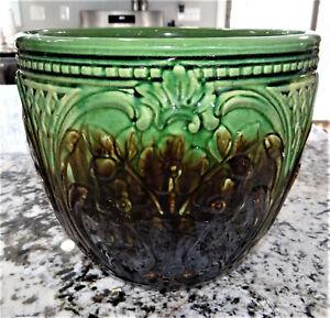"Weller Pottery Large 11"" Jardiniere 4 Flower Pots Majolica Blended Vtg Antique"