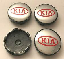 4 x KIA 60mm Wheel Centre Caps Chrome / Red New Emblems Center Caps Base (Black)