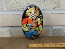 Louis Wain Style Cat playing Guitar Toffee Tin c1920s