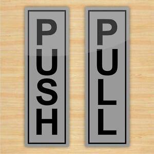 Set of Push and Pull Door Stickers, Silver vinyl, Door, Entrance Sign