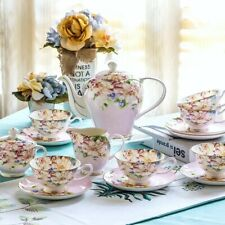 21 Pieces Vintage English Style Set Bone China Tea Kettle Teapot & Saucers Pink