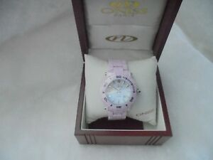 Oniss ON8110-L Women's Oversized Swiss Pink Ceramic Chronograph Watch NIB