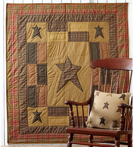 STRATTON STAR 50x60 QUILT THROW :  RUSTIC BROWN CABIN PRIMITIVE COUNTRY BLANKET