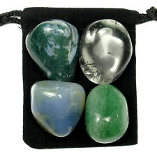 ANTI-INFLAMMATORY Tumbled Crystal Healing Set =4 Stones +Pouch +Description Card