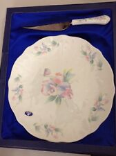 "Aynsley ""Little Sweetheart"" 10.25"" Serving Plate and Stainless Server Orchids"