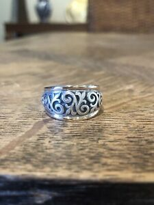 James Avery Scrolled Fleur de Lis Ring Silver and Gold Band Retiring Design