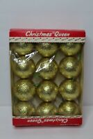 """Vintage NOS Set 12 Christmas Queen Gold Glitter Ball Ornaments - In Box - 3"""""""