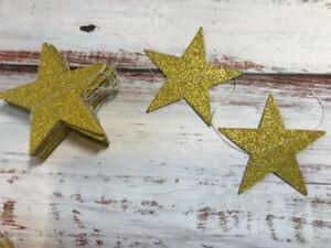 Gold Glitter Star Bunting Garland Sparkly Wedding Event Ramadan Room Decor 6ft