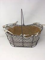 "Vintage Metal Wire Garden Basket Garden Decor Rusty 17"" x 9"" w/ Handle & Cloth"