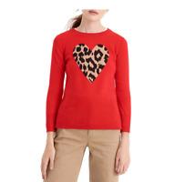 NWT J CREW Everyday cashmere crewneck sweater with leopard heart Size XXS