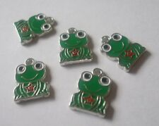 5 x Enamel Frog Charms Green homologues 17x13x1mm-Hole Size 2 mm Crafts