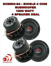 "MASSIVE AUDIO SUMMO64 - 6"" SINGLE 4 OHM CAR AUDIO SUBWOOFER 1200W 4 SPEAKER DEAL"