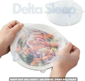 Reusable Silicon Stretch Lids Pack of 6 Extra Stretchy and Durable Long Lasting