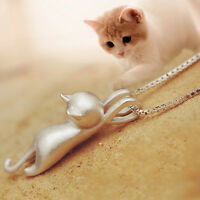 Simple 3D Cute Running CAT Silver Pendant Kitten Necklace Chain Jewelry Gift 18""