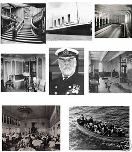 """Titanic set of 8 glossy  photographic prints 4x6"""" each captain, interior, boat"""