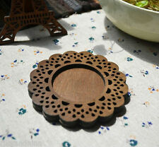 zakka rustic MERCERIE de FRANCE vintage retro deco wood Lace Coaster Cup Mat