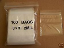 Reclosable Ziploc Bags. 3x3 100 Clear Bags.