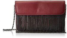 Steve Madden Blite Fringe Wine Chain Burgundy Crossbody Handbag