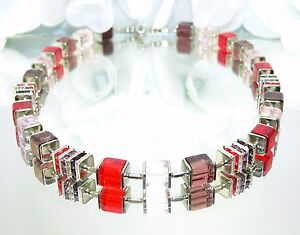 Halskette Würfelkette Kette Cube Glas Strass rot rosa lila mehrfarbig 092h