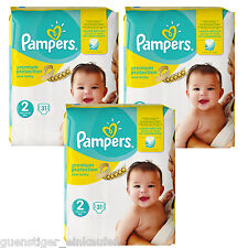 3x 31 = 93 Pampers Premium Protection New Baby Größe 2 Windeln 3-6 kg Diapers
