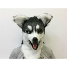 ADULT HUSKY DOG ANIMAL MOUTH MOVING FURRY COSTUME OVER THE HEAD MASK BLACK WHITE