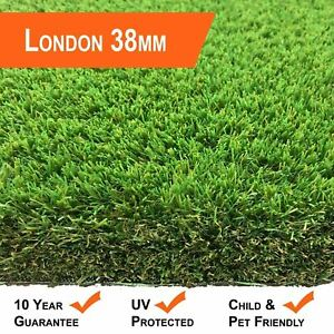 LONDON 38MM ARTIFICIAL GRASS FAKE GARDEN LAWN EASY FIT QUALITY REALISTIC GRASS