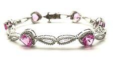 Sterling Silver Heart Pink Sapphire / Diamond Cut Pear Link Love Tennis Bracelet