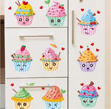 Cute Smiley Ice Cream Cupcake Dessert Fridge Sticker | Happy Kitchen Decor Decal