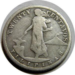elf Philippines USA 20 Centavos 1909 S Silver