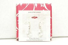 Swarovski Elements Silver Plated Dazzling Clear Crystal Heart Drop Earrings