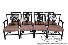 Baker Antique 1940s Solid Mahogany Set of 8 Chippendale Style Dining Chairs