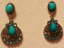 "Rhinestone Dangled Earring Set 1.75""Teal fashion Statement Pewter"
