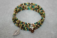 Gift Idea! Smokey Topaz Crystals & Seed Beads & Leaf Charm Wire Wrap Bracelet