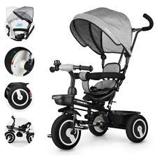 4in1 Baby Kombi Kinderwagen Kinderdreirad Farrad Schiebestange ab 5 Jahre Grau