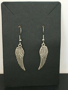Silver angle wing dangle earrings / angle wings / boho jewellery / ideal gift.